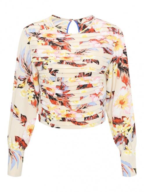 Блуза из шелка с цветочным узором - Общий вид