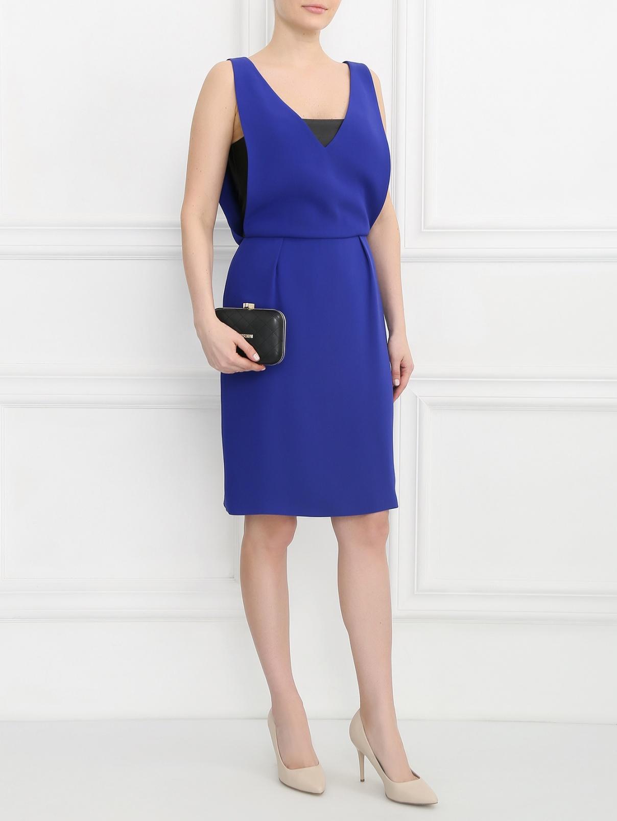 Платье из шелка с вырезом на спине Yves Salomon  –  Модель Общий вид  – Цвет:  Синий