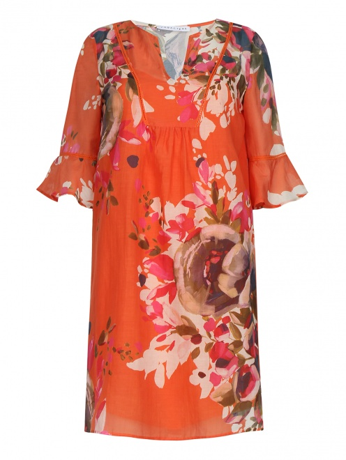 Платье-мини из хлопка и шелка с узором - Общий вид