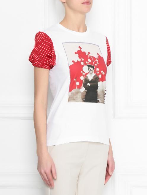 Блуза из хлопка с принтом - МодельВерхНиз