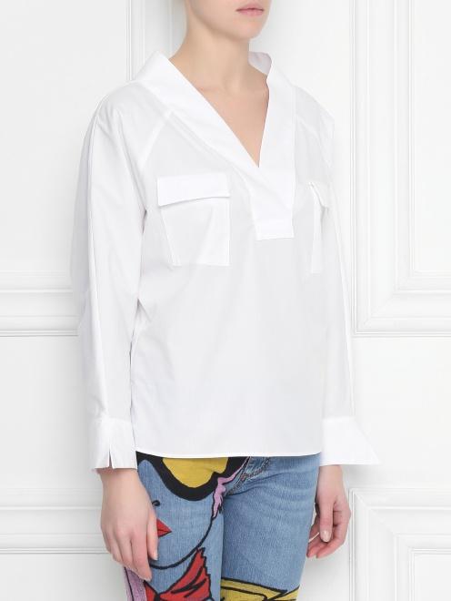 Блуза из хлопка, свободного кроя - МодельВерхНиз