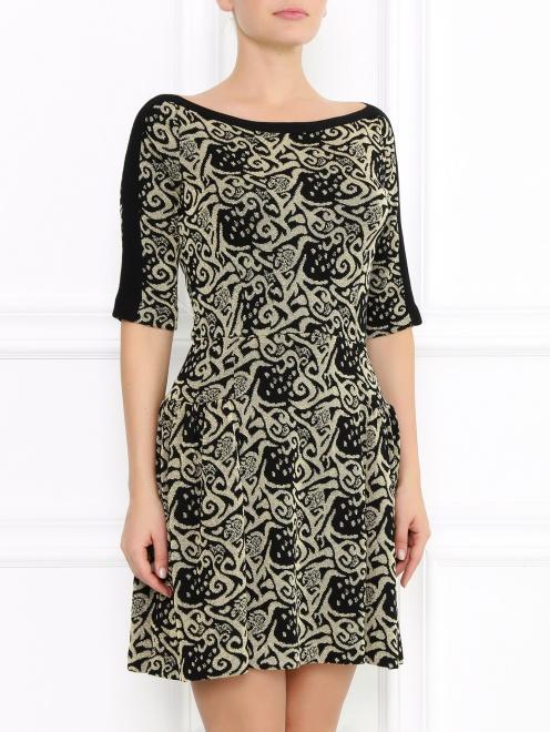 Платье из фактурной ткани с узором  - Модель Верх-Низ