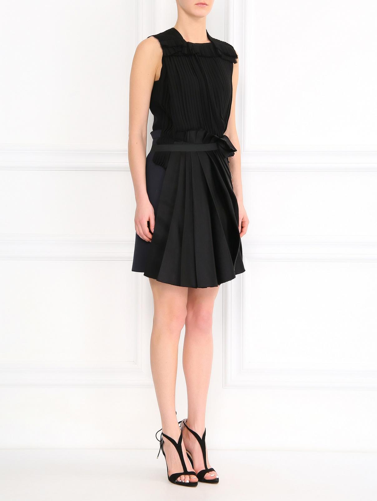 Платье из шелка декорированное кристаллами Lanvin  –  Модель Общий вид  – Цвет:  Черный