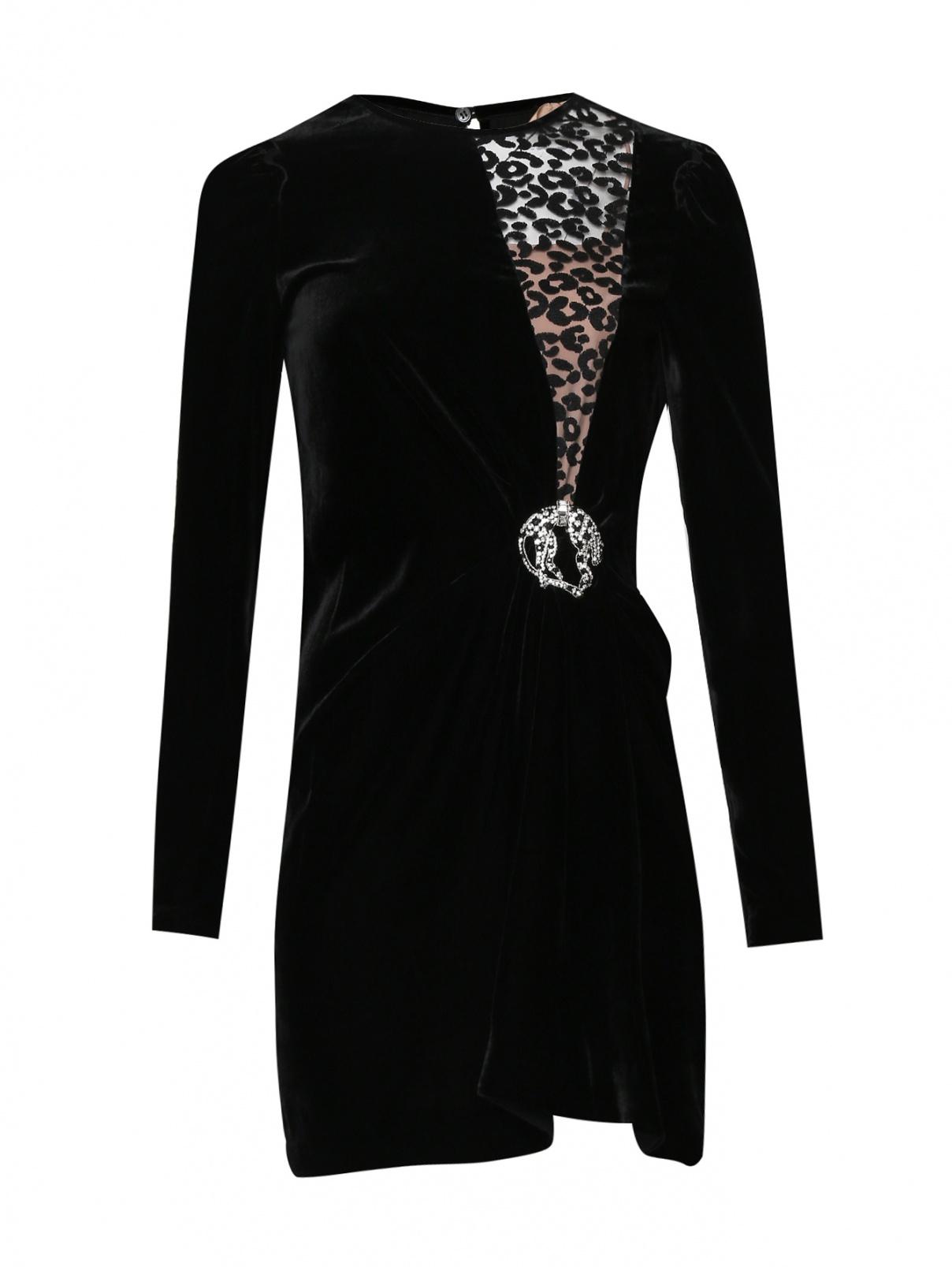 Платье из вискозы и шелка с декором N21  –  Общий вид  – Цвет:  Черный