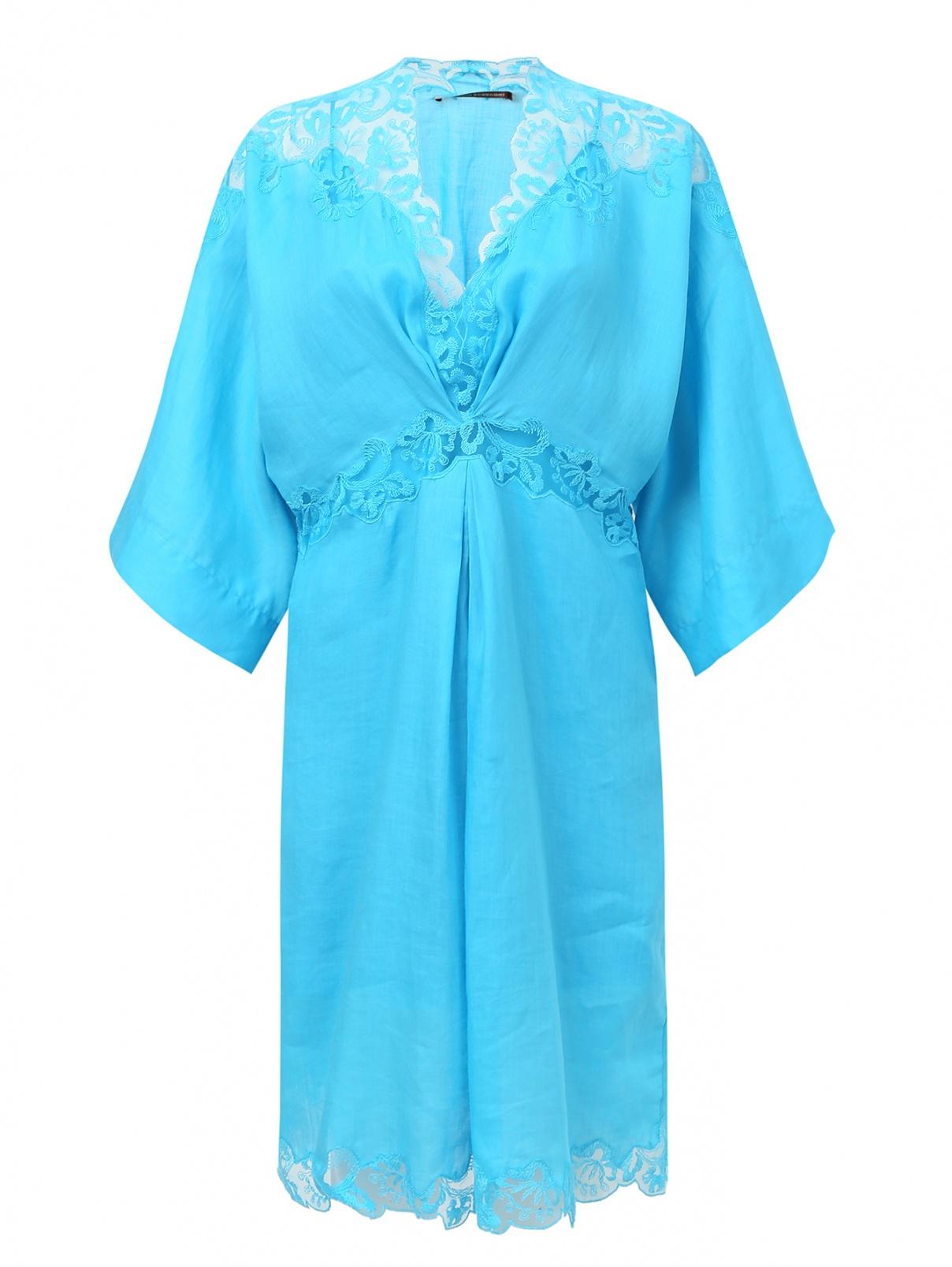 Платье-мини  свободного кроя с кружевной отделкой Ermanno Scervino  –  Общий вид  – Цвет:  Синий