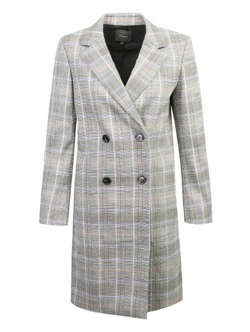 Пальто двубортное из шерсти в клетку - Общий вид