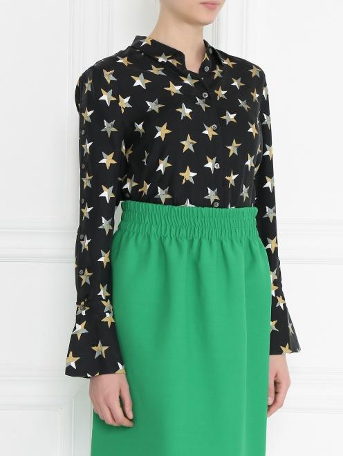 Блуза из шелка с принтом и пуговицами по бокам - МодельВерхНиз