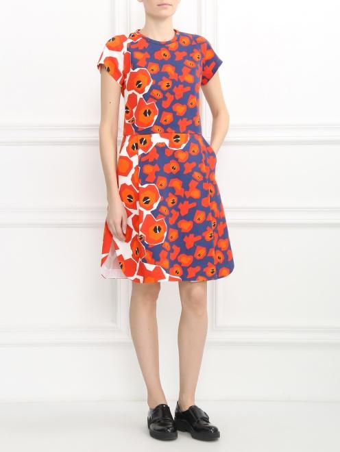 Платье из хлопка с цветочным узором - Модель Общий вид