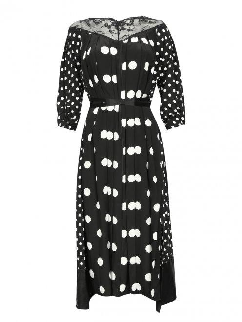 Платье из шелка в горох с кружевной отделкой - Общий вид