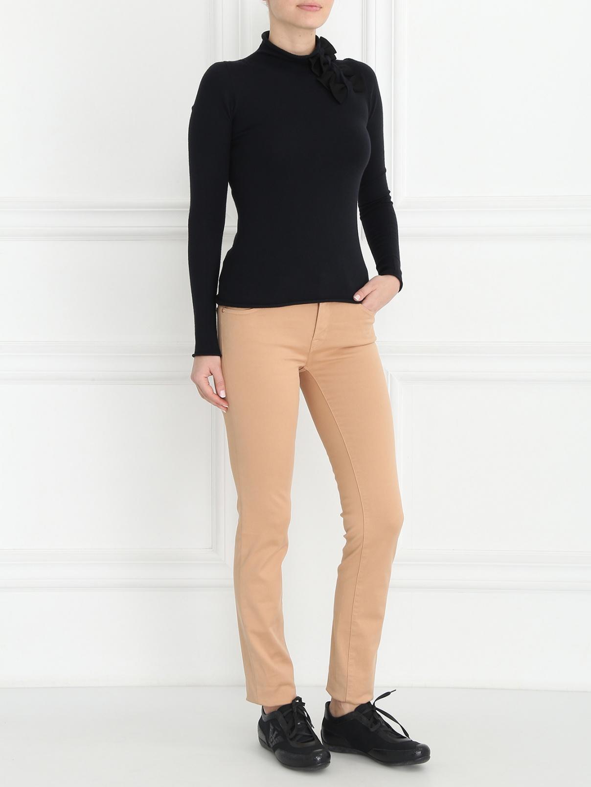 Узкие брюки из хлопка 7 For All Mankind  –  Модель Общий вид  – Цвет:  Бежевый