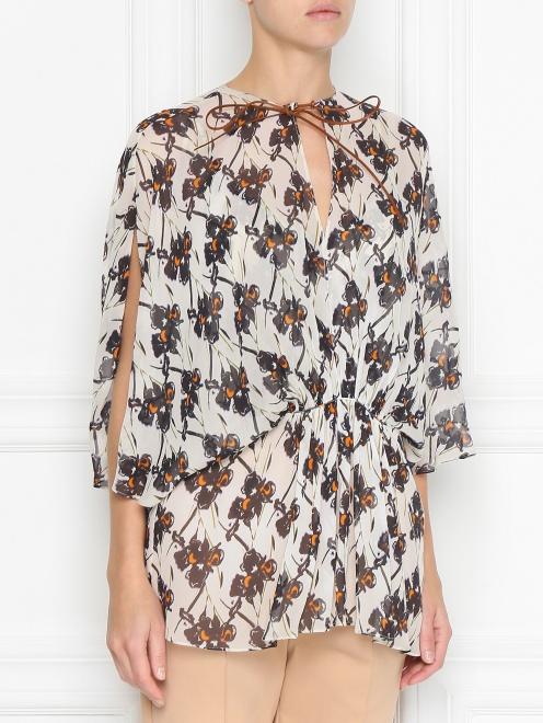 Блуза из шелка с принтом свободного кроя - МодельВерхНиз