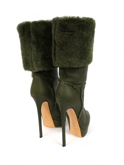 Зимние сапоги из кожи на высоком каблуке и с меховым отворотом - Обтравка2