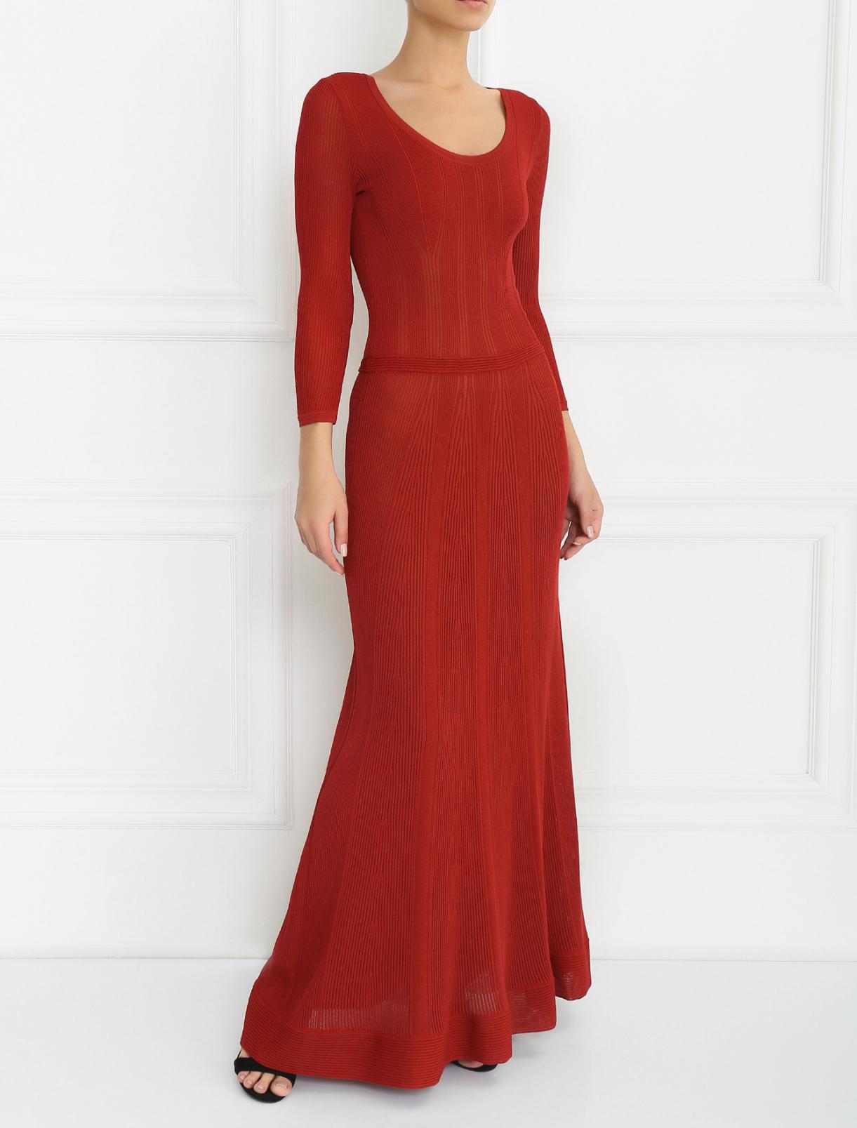 Платье-макси с рукавом 3/4 Alberta Ferretti  –  Модель Общий вид  – Цвет:  Красный