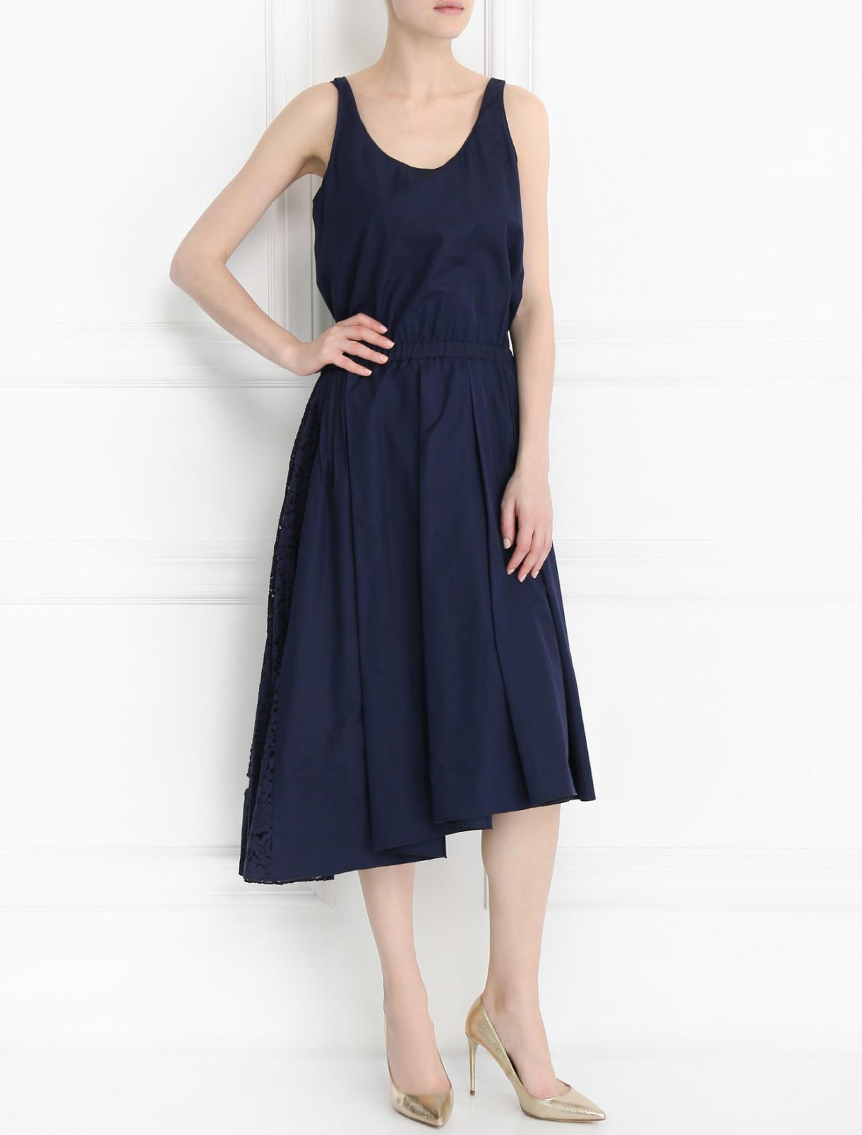 Платье из хлопка со вставкой из кружева N21  –  Модель Общий вид  – Цвет:  Синий