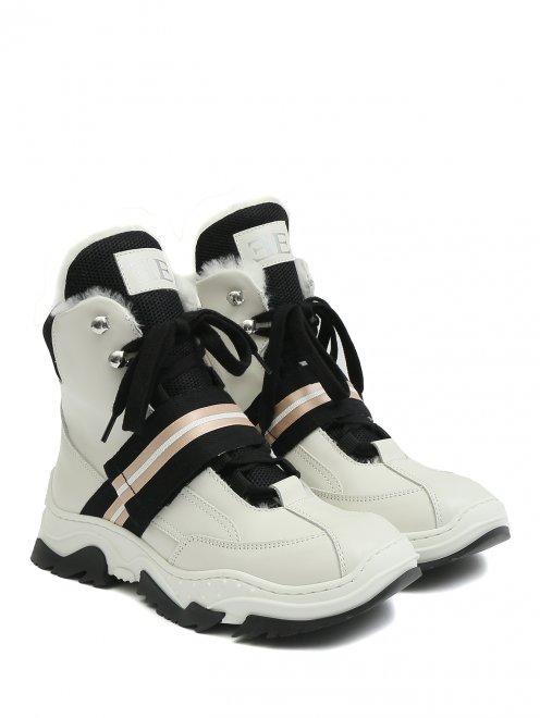 Ботинки из кожи с контрастной отделкой - Общий вид