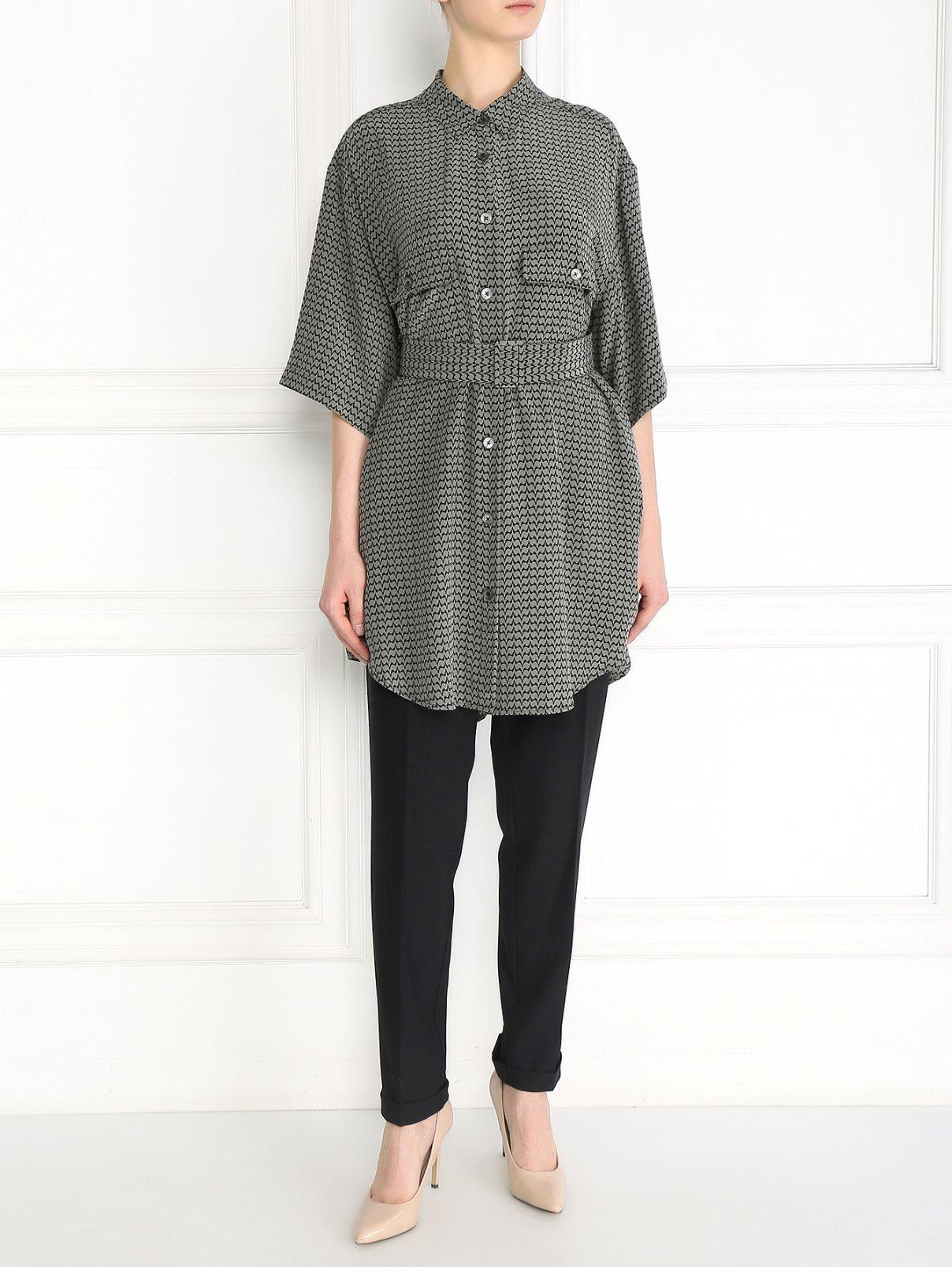 Платье-рубашка из шелка с узором Equipment  –  Модель Общий вид