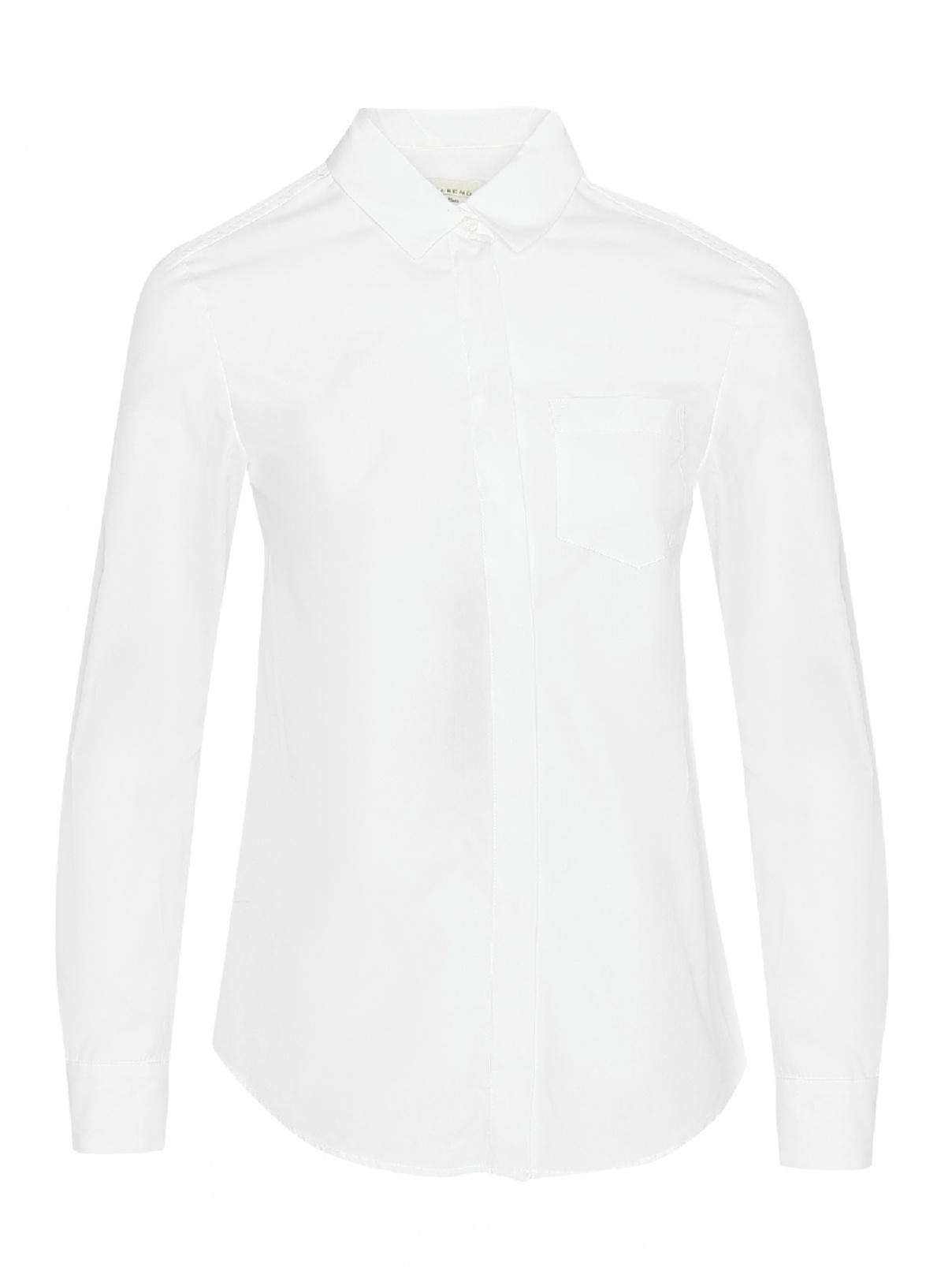 Рубашка хлопковая с накладным карманом Weekend Max Mara  –  Общий вид  – Цвет:  Белый