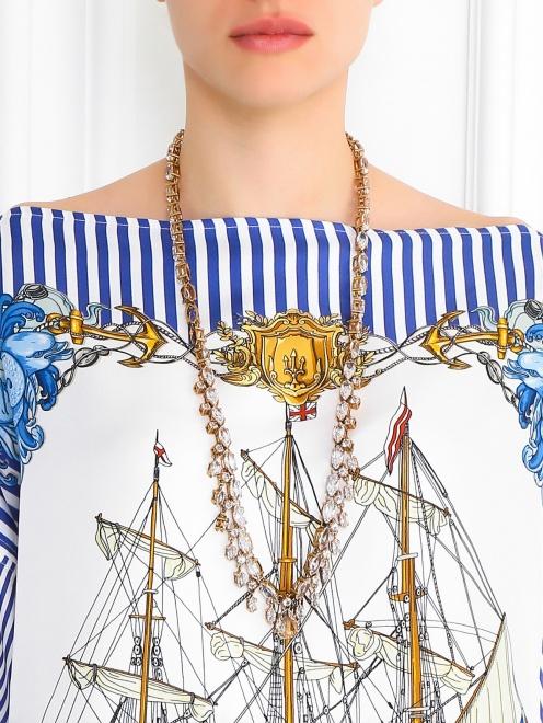 Ожерелье из металла декорированное кристаллами - Модель Верх-Низ