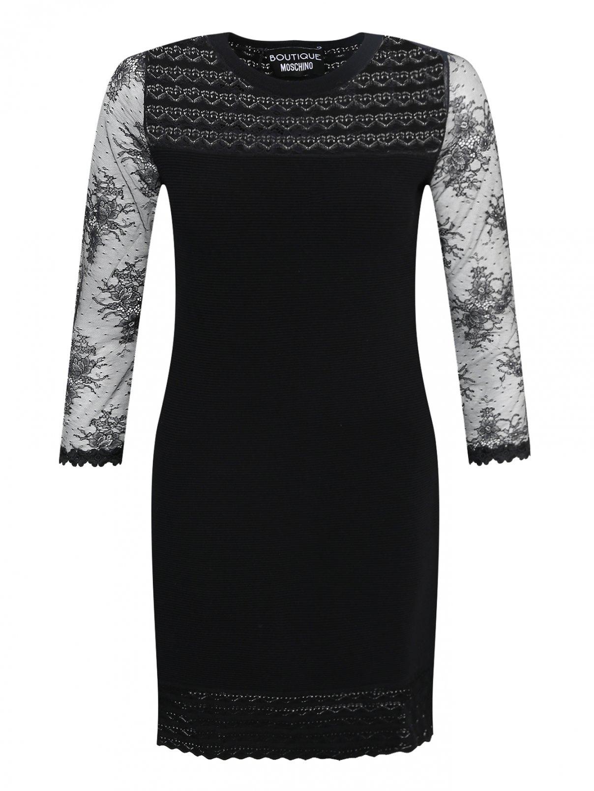 Платье с кружевной отделкой Moschino Boutique  –  Общий вид  – Цвет:  Черный