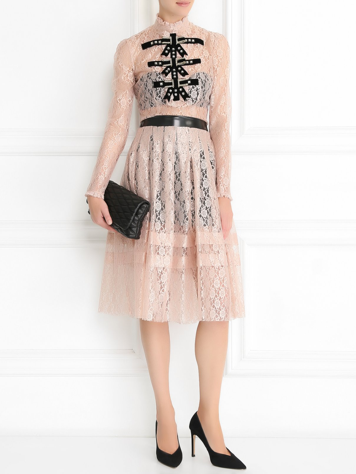 Пышная юбка из кружева с контрастной отделкой Philosophy di Lorenzo Serafini  –  Модель Общий вид  – Цвет:  Розовый