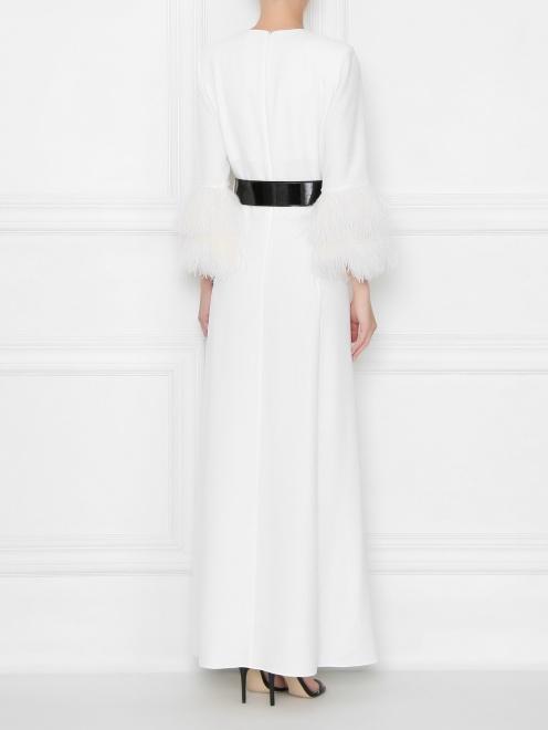 Платье макси декорированное перьями  - МодельВерхНиз1