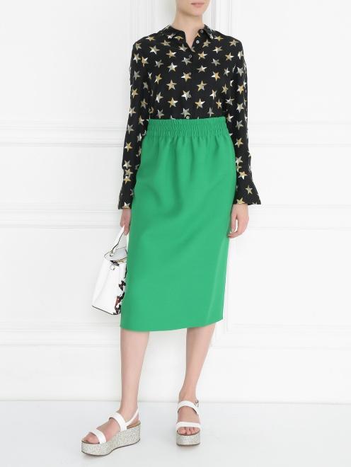 Блуза из шелка с принтом и пуговицами по бокам - МодельОбщийВид