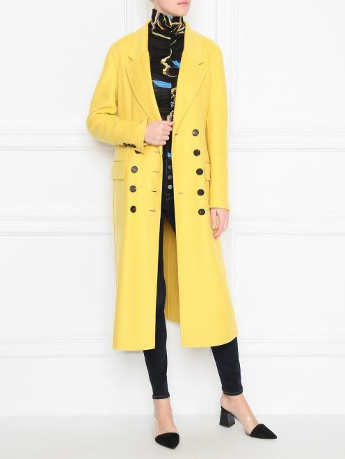 Пальто из кашемира двубортное - Общий вид