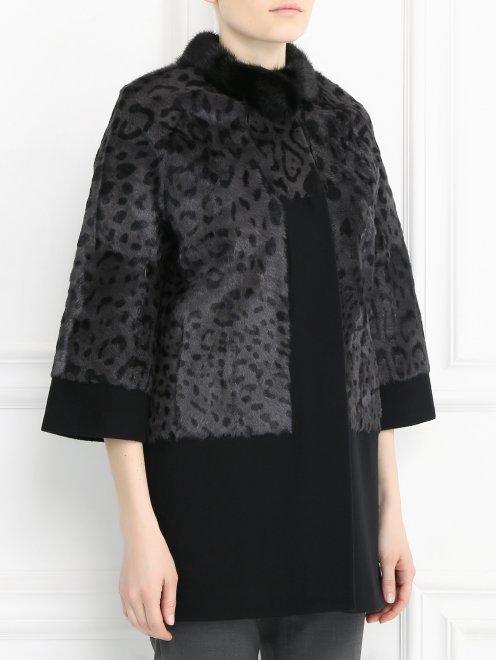 Пальто из меха козы с рукавами 3/4 - Модель Верх-Низ