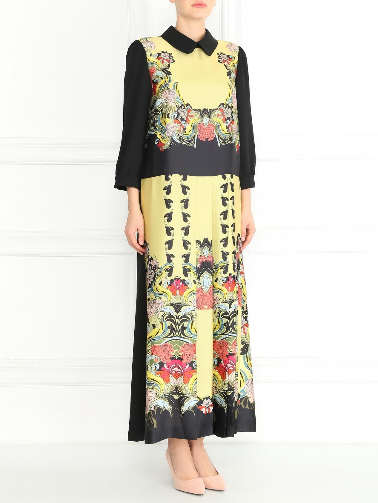 Платье-макси с цветочным узором и плиссировкой Isola Marras  –  Модель Общий вид