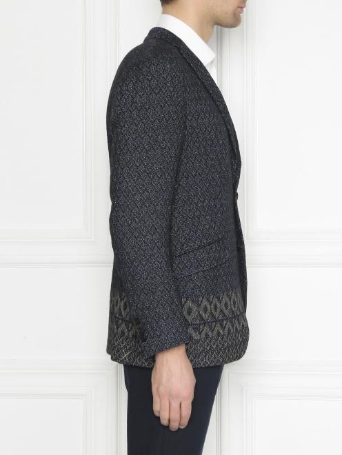 Пиджак однобортный из льна с узором  - МодельВерхНиз2