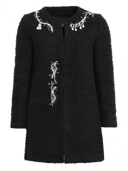Пальто из шерсти с аппликацией из кристаллов - Общий вид