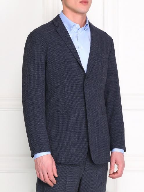 Пиджак из шерсти и шелка - Модель Верх-Низ