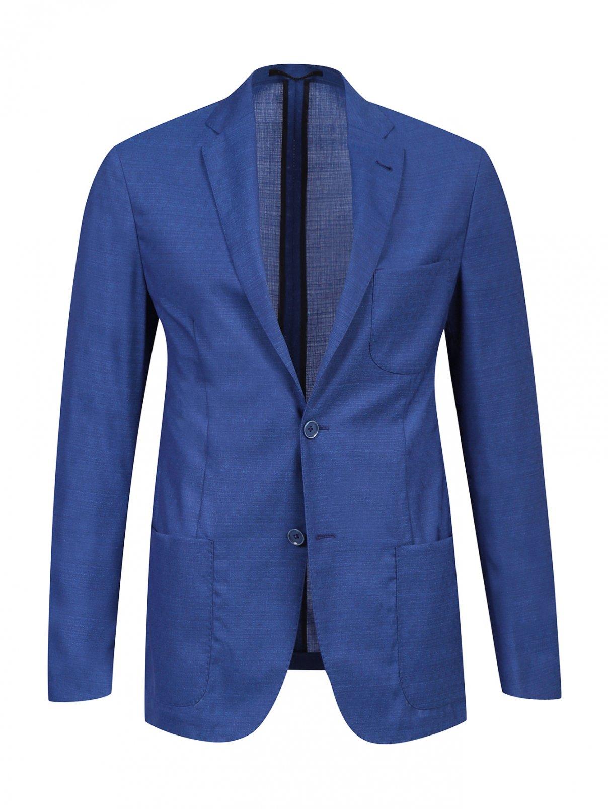 Легкий пиджак из шерсти Corneliani ID  –  Общий вид  – Цвет:  Синий