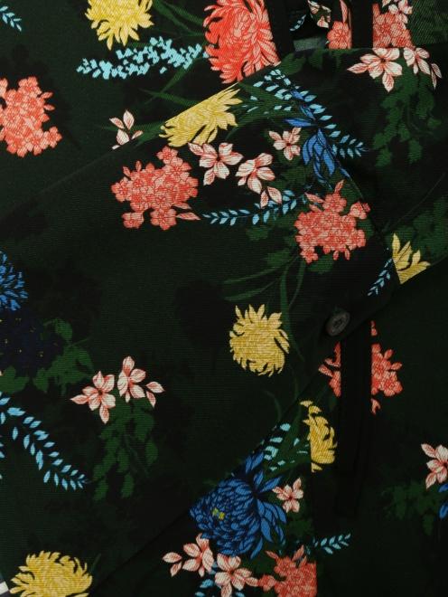 Платье из смешанного шелка с цветочным узором - Деталь