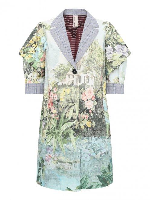 Легкое пальто из хлопка с цветочным узором - Общий вид