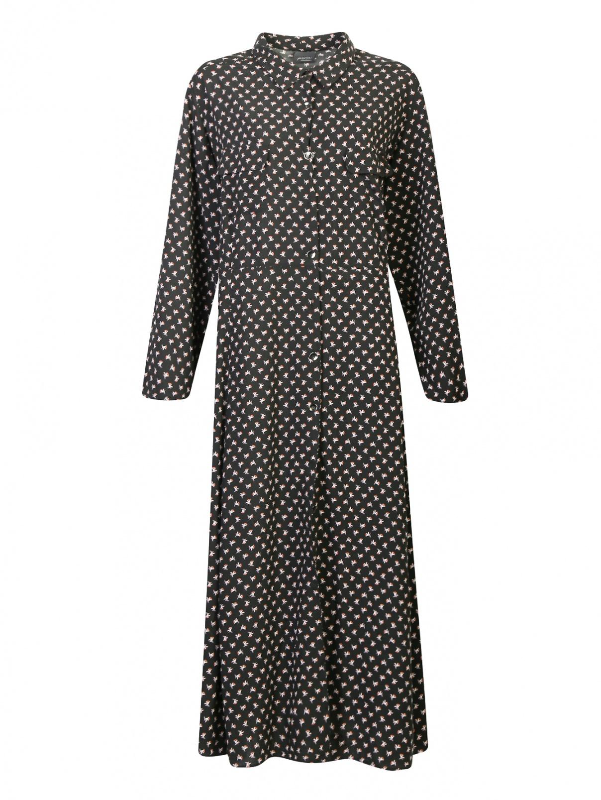 Платье свободного кроя с цветочным узором Persona by Marina Rinaldi  –  Общий вид