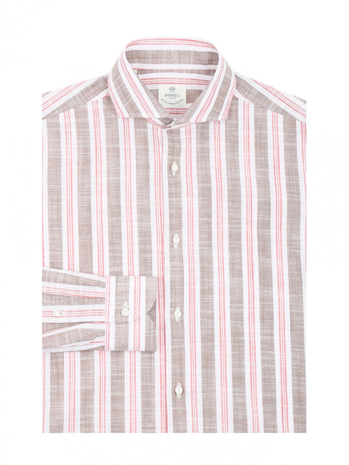 Рубашка из хлопка с узором полоска Borrelli  –  Общий вид  – Цвет:  Коричневый