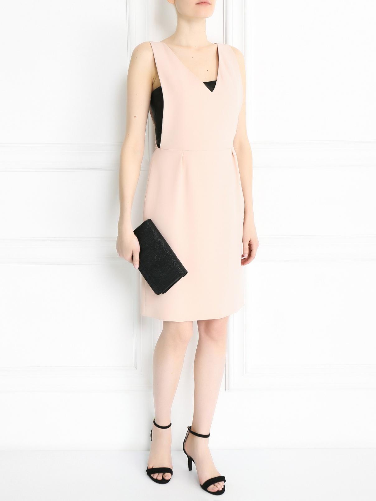 Платье-мини из шелка без рукавов Yves Salomon  –  Модель Общий вид  – Цвет:  Розовый
