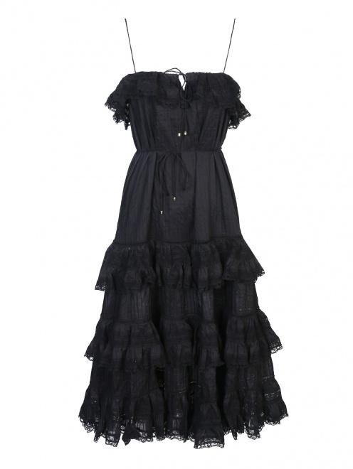 Платье из хлопка с кружевной отделкой - Общий вид