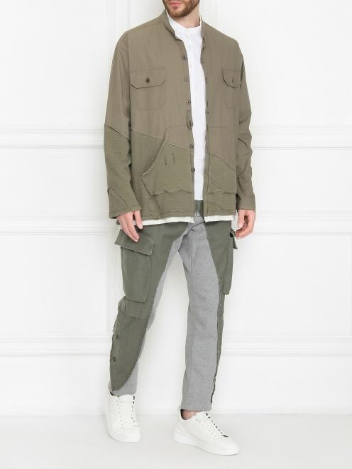 Комбинированная куртка из хлопка - Общий вид