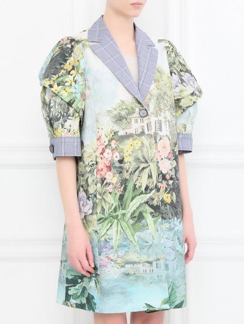 Легкое пальто из хлопка с цветочным узором - МодельВерхНиз