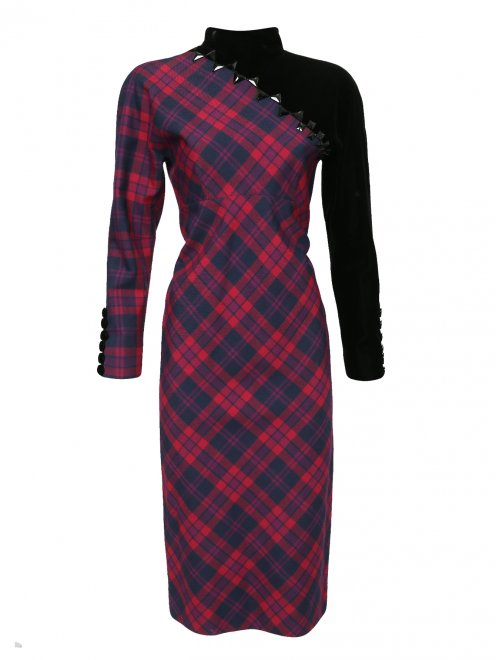 Платье-миди из шерсти с узором и декоративной отделкой - Общий вид