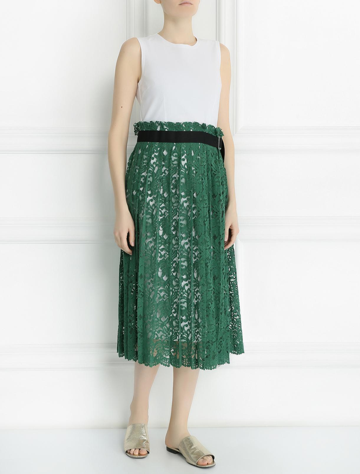 Платье из хлопка с кружевной юбкой Erika Cavallini  –  Модель Общий вид
