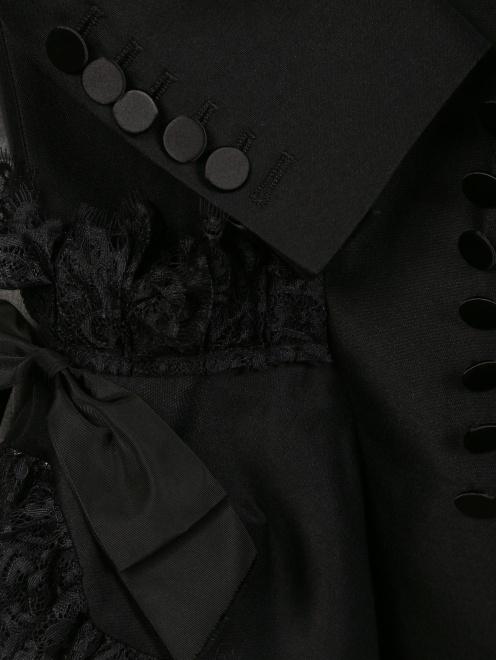 Жакет из шерсти и шелка с объемными рукавами и кружевом - Деталь