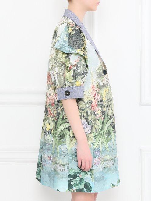 Легкое пальто из хлопка с цветочным узором - МодельВерхНиз2
