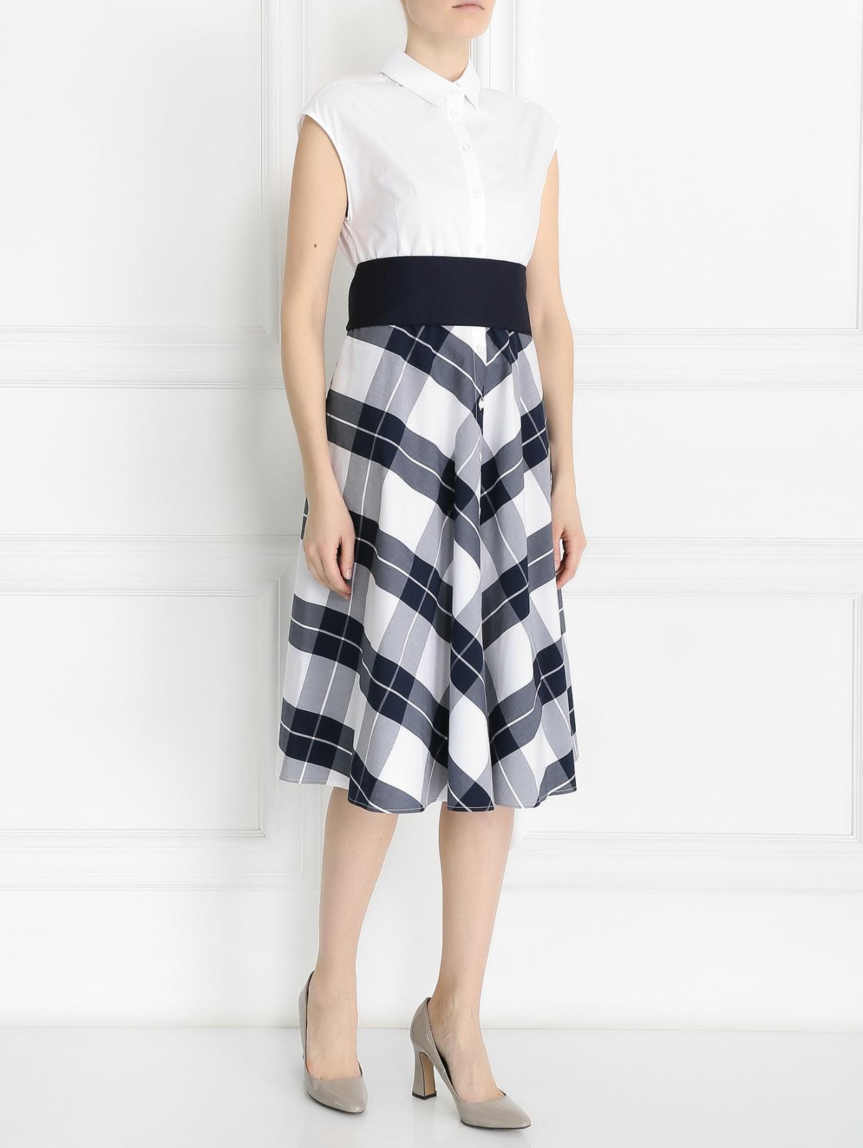 """Платье-рубашка из хлопка с узором """"клетка"""" I'M Isola Marras  –  Модель Общий вид  – Цвет:  Белый"""