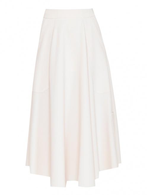 Юбка-миди расклешенного кроя с карманами  - Общий вид