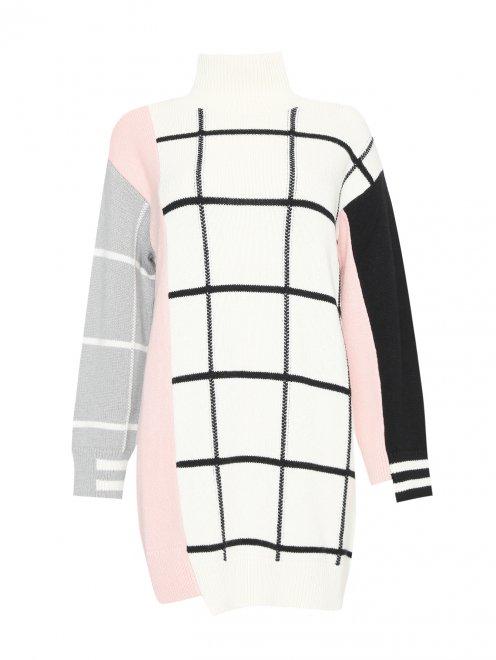 Платье трикотажное из шерсти и кашемира с рисунком - Общий вид