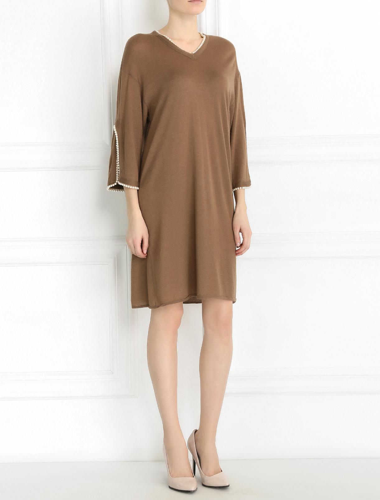 Платье из смешанного кашемира декорированное бусинами Andrew GN  –  Модель Общий вид