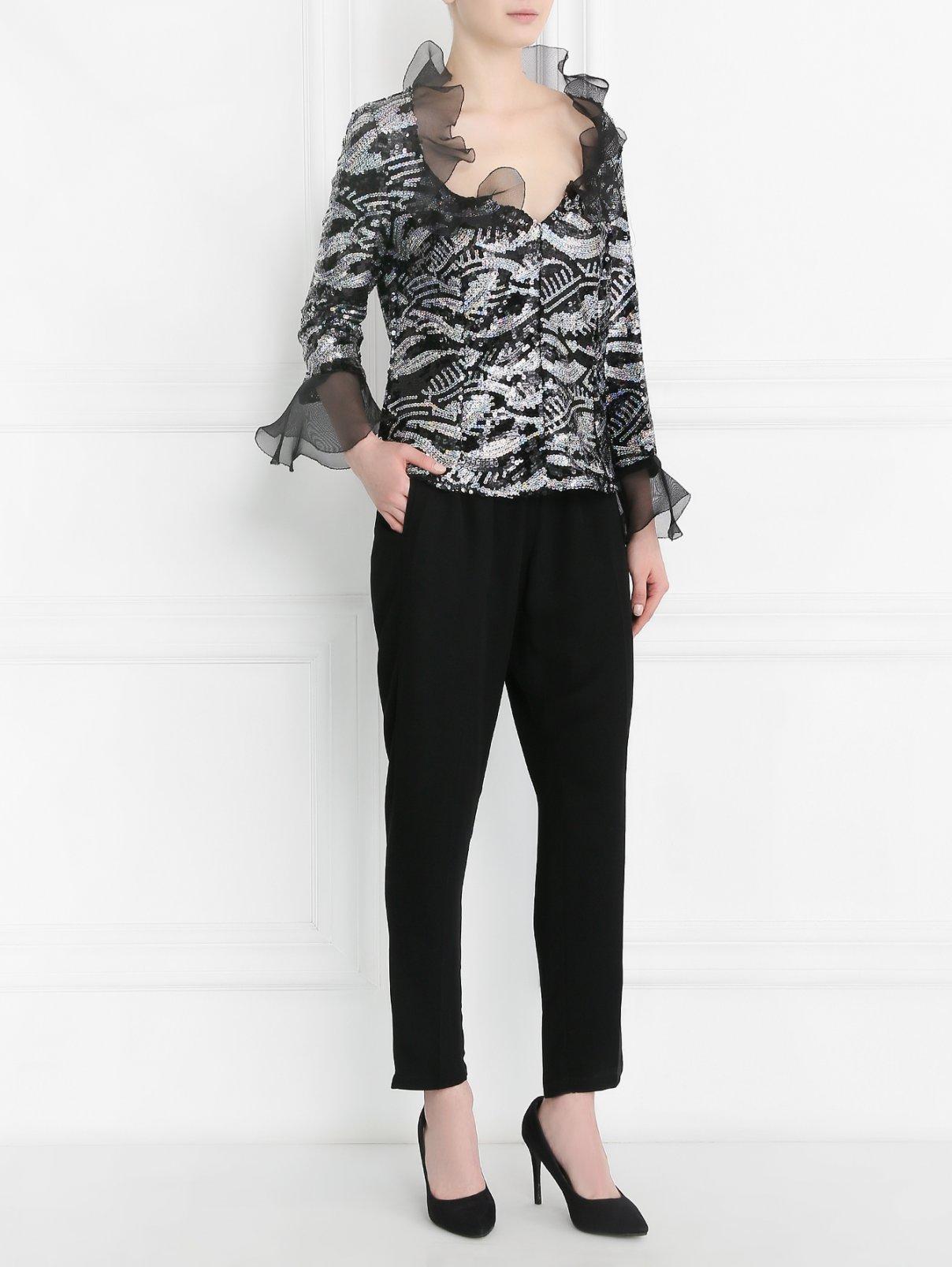 Блуза декорированная пайетками Mariella Burani  –  Модель Общий вид  – Цвет:  Черный